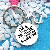 Heart Shaped Nurse Keyring Hollow Keychain Alloy Tag Creative Key Fob Gifts KV