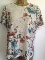 M&S Per Una - Burnout Floral Print Short Sleeve T-Shirt,IVORY MIX (BNWT)-Size 10
