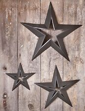 3 COUNTRY STAR SET - Rustic Metal Wall Hanging Decor in Smokey Black Finish