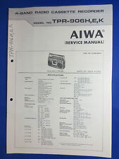 AIWA TPR-906 CASSETTE RADIO SERVICE MANUAL ORIGINAL GOOD CONDITION