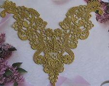 """Vintage  Venise Lace Applique 9"""" Dusted Gold Metallic Trim Wholesale 5 pcs."""
