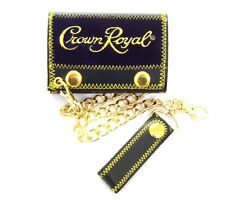 Crown Royal Whiskey Blue Velvet Gold Stitching Trifold Chain Wallet New Official