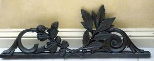 Antique French Ebonized Wood Carving Pine Bough & Holly