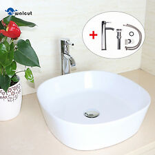 Bathroom Ceramic Vessel Sink Rounded Bowl Chrome Faucet Pop Up Drain Combo New