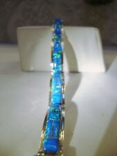 "BLUE with Green Glow Fire Opal Linked Bracelet 6"" Sterling Silver 925 Small"