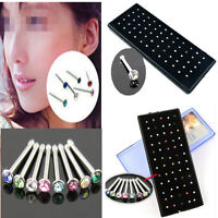 60PCS Surgical Steel Rhinestone Crystal Nose Ring Stud Body Piercing Jewelry New