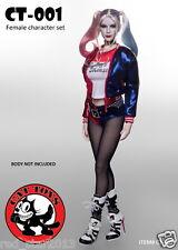 1/6 CAT TOYS Batman Female Joker Harley Quinn Head Sculpt & Clothing Suits