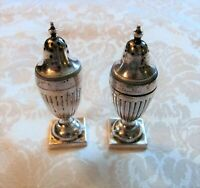Pair Antique English Sterling Silver Shakers London 1886