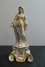 + Statuette Sainte vierge en porcelaine de Paris 19ème blanc et or - état Top +