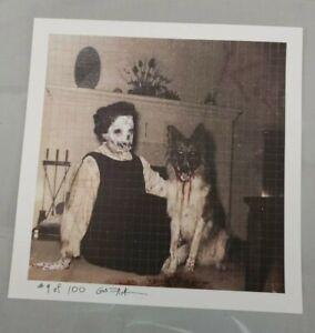 Gus Fink  signed blotter art  vintage altered photo dark art German Sheppard