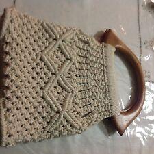 Handmade BoHo Hippie Ivory Macramé Crochet Purse Round Wood Handles