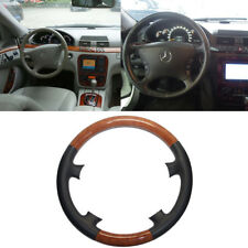 Black Leather Brown Wood Steering Wheel Cover Benz W220 S S430 S600 C215 CL