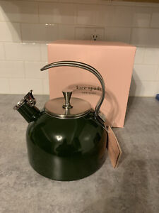 Kate Spade Tea Kettle Green All In Good Taste 2.5 Quart Whistles CLOVER NIB