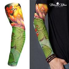 Tattoo Sleeve Nylon Temporary Arm Stocking Koi Carp Lotus Flowers Mens Womens