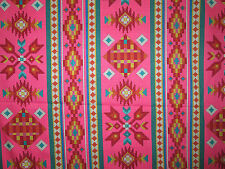 Native American Beaded Like Floral Pink Border Print Cotton Fabric BTHY