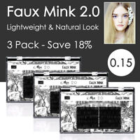 3 Pack 0.15 Faux Mink Lash Individual Eyelash Extension Soft Natural Look