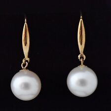 AAA 10mm Round White Pearl Earrings on 18ct Gold Crooks/