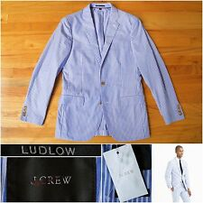 NWT $295 J.Crew Ludlow All Cotton Jacket in Blue & White Engineer Stripe, 38R