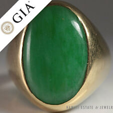 GRADE A CERTIFIED JADE BEZEL SET YELLOW GOLD RING (SZ 7.5)
