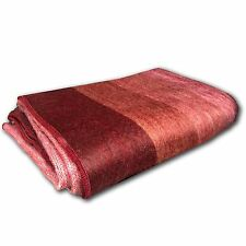 "SOFT & WARM RED BORDO STRIPED ALPACA LLAMA WOOL BLANKET PLAID 90""x70"" QUEEN"