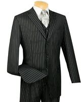 Men's Black Pinstripe 3 Piece 3 Button Classic-Fit Suit NEW w/ Matching Vest