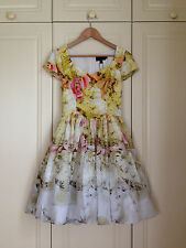 TED BAKER Tea Party floral print fit & flare full skirt dress wedding races 2 10
