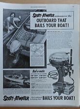 1954 magazine ad for Scott-Atwater Bail-a-matic outboard, 2 1/2 gallons a minute