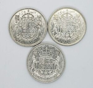 1946 1947 1949 Canada Silver 50 Fifty Cents 3 Different Coin Lot