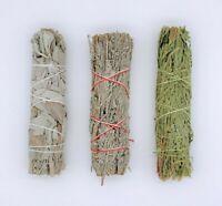 Set of 3: Sage Smudge Stick Bundle Sampler Kit: White, Blue, Cedar