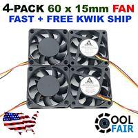 Gdstime 12v 60mm DC Cooling Case Fan 3Pin 6015 60x60x15mm CPU PC Computer 4 Pack