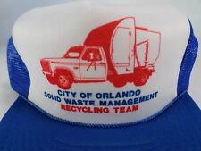 4e253cd624f Garbage Truck Hat Cap Orlando Waste Management Recycling Snapback Trucker  Blue