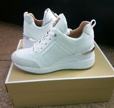 Michael Kors Trainer Georgie Wedge Sneakers White Leather/Textile 7.5  NEW