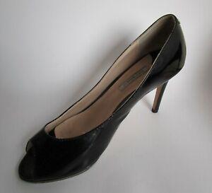 Tony Bianco black patent leather heels shoes size 8 peep toe pumps