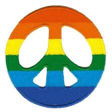 bg03 Peace Zeichen Regenbogen Aufnäher Bügelbild Frieden Applikation Love Patch