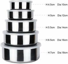 5-Piece Stainless Steel storage bowl Set with Plastic Lids ,Container New  Gift