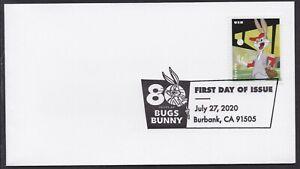 US 5502 Bugs Bunny Baseball Pitcher BWP FDC 2020