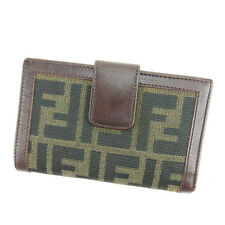 Fendi Wallet Purse Coin purse Zucca Green Black Woman unisex Authentic Used S443