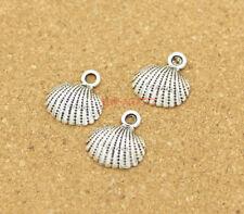25pcs Shell Charms Seashore Seashell Beach Charms Antique Silver Tone 18x17 0389