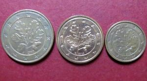 *Mixed  LOT of  3  EURO COINS, Fine Circulated  5, 2 and 1 CENTS, Coin Lot  #3