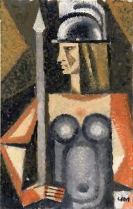 "Expressionist Anatoliy Chudinovskikh ""Athene"" Öl Pappe 28x18 cm"