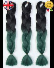 """24"""" Black & Green Ombre Two Tone Dip Dye Kanekalon Jumbo Braids Hair Extensions"""