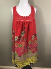 A.N.A A New Approach Red Floral Summer Dress Sleeveless Size 14 (XL) Ombré