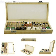 228-Piece Rotary Tool Accessories Kit, Shank 1/8in Wooden Storage Box New