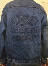 Vintage Ford Motorcraft Racing Embossed Graphic Denim Jacket Size Small USA