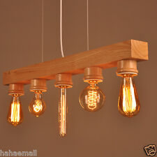 Wooden Ceiling Fixture Light Pendant Lamp Lighting Hanging Bar Café Chandelier