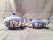 Vintage Wedgwood Jasperware LIGHT BLUE Classical Relief Sugar & Creamer