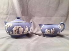 Vintage Wedgwood Jasperware LIGHT BLUE Classical Relief Sugar & Creamer