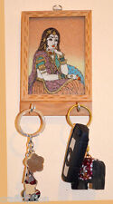 Gem stone painting carved wood keychain wall holder with two hooks from India