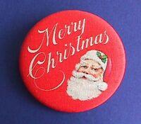 Hallmark BUTTON PIN Christmas Vintage SANTA Merry Holiday Pinback FABRIC