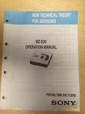 Sony Operation Manual ~ MZ-E30 Mini Disc Player ~Technical Theory/Service